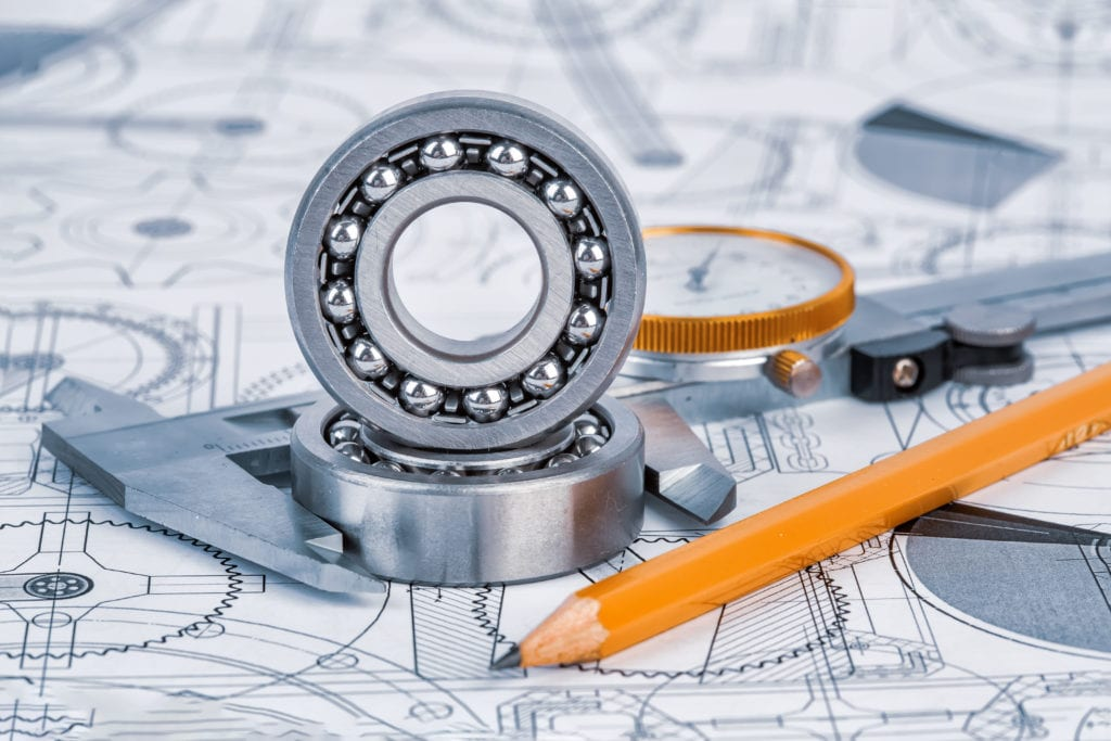 technical drawings with the bearing scaled