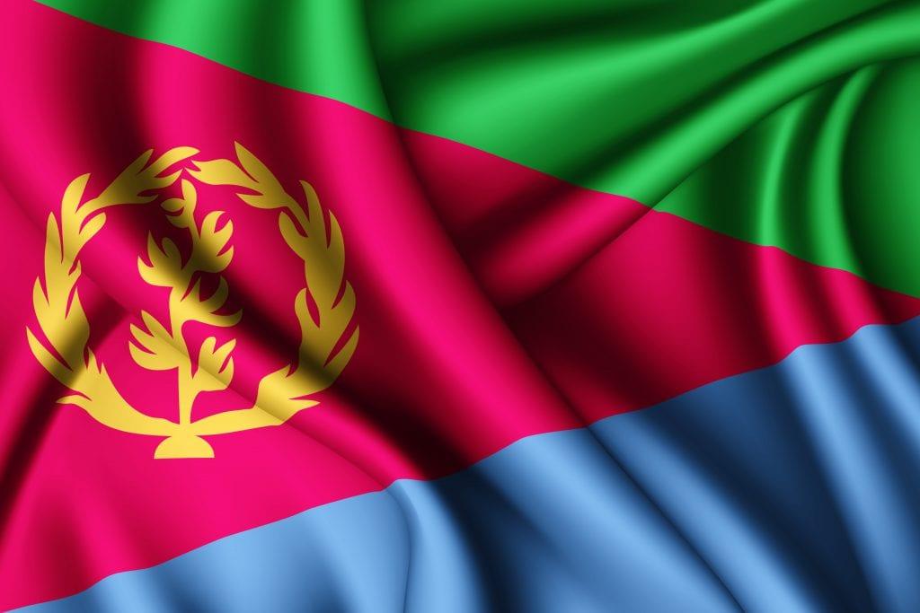 תרגום לטיגרינית אריתרית בתמונה: דגל  אריתריאה משולשים בצבעים ירוק ארגמן כחול